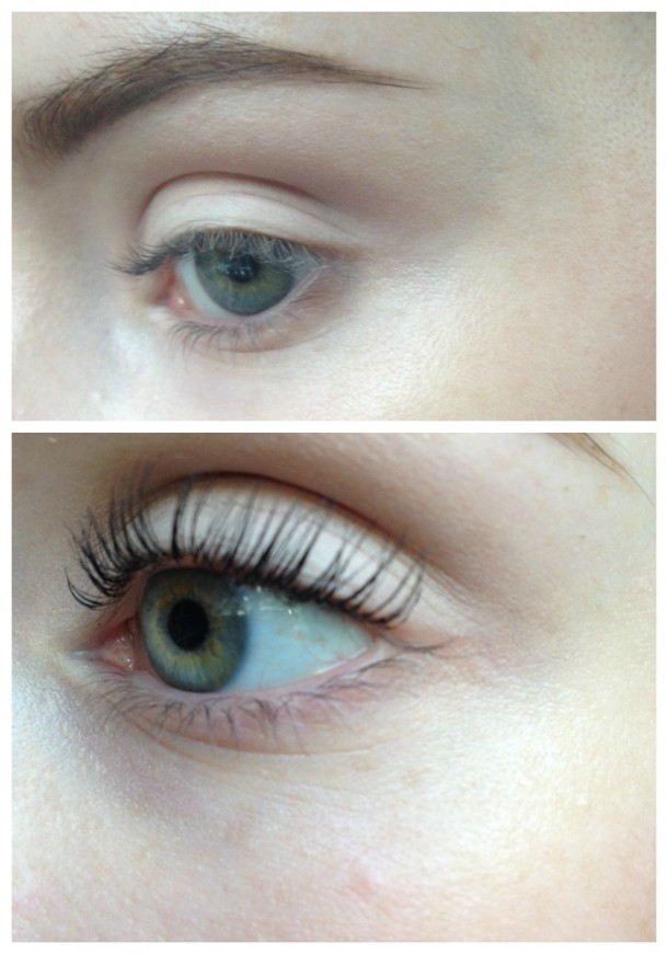 top: before, no mascara bottom: after, with one coat of mascara