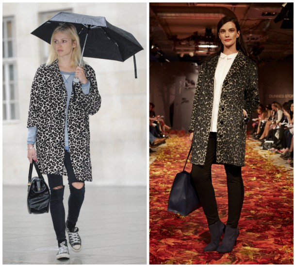 Left, Fearne Cotton; Right, Coat, €75, Dunnes Stores (available October)