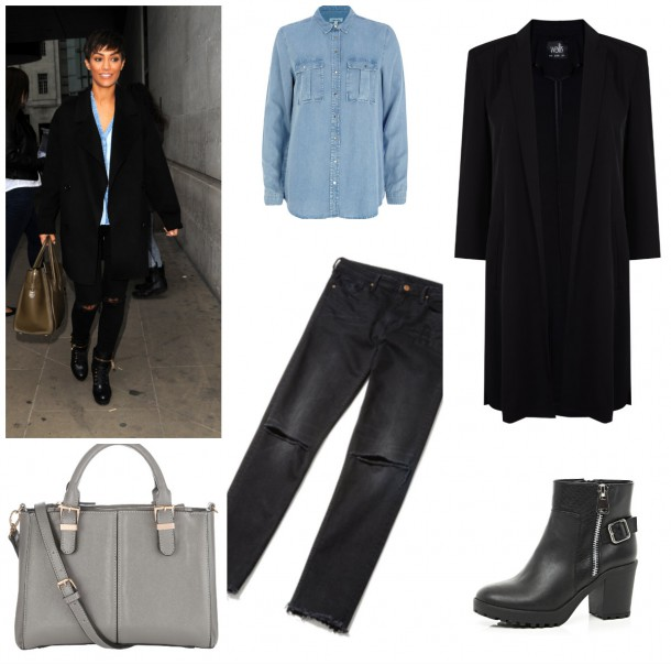 Denim Shirt, €45, River Island; Duster Coat, €89 (approx), Wallis; Boots, €45, River Island; Jeans, €29.99, H&M; Bag, €38 (approx), Accessorize