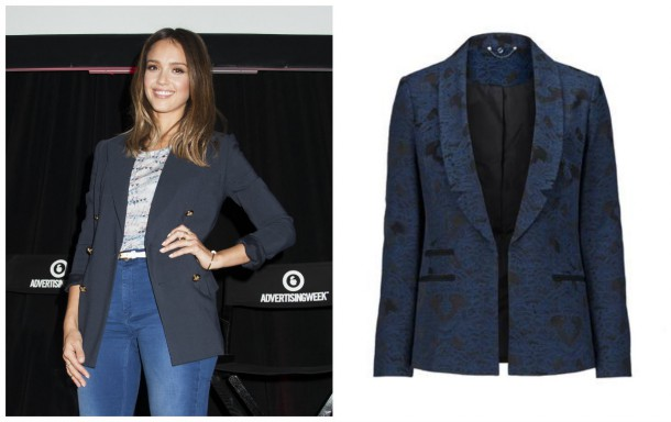 Left, Jessica Alba; Right, Jacquard Blazer, €63, Definitions at Littlewoods Ireland