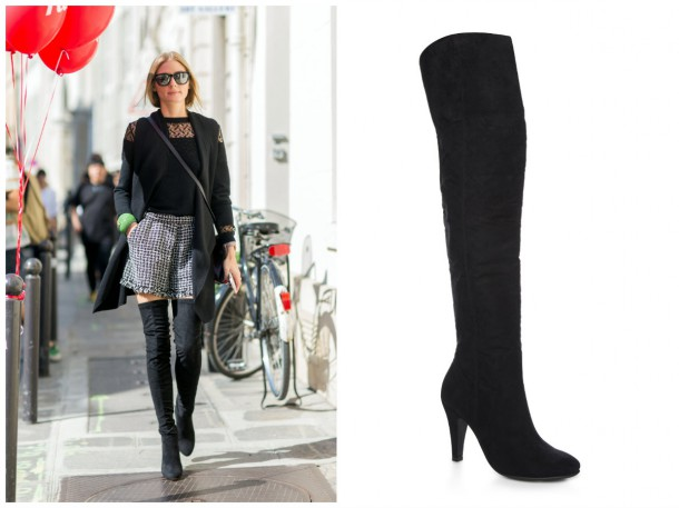 Left, Olivia Palermo; Right, Over the knee boots, €24, Penneys (also available in grey)