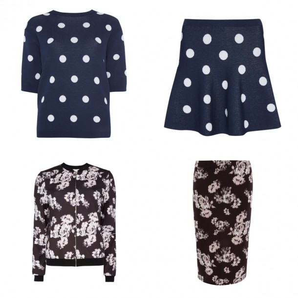 From top left: Top, €15; Skirt, €12 (November); Pencil skirt, €10; Bomber jacket, €18, all from Penneys