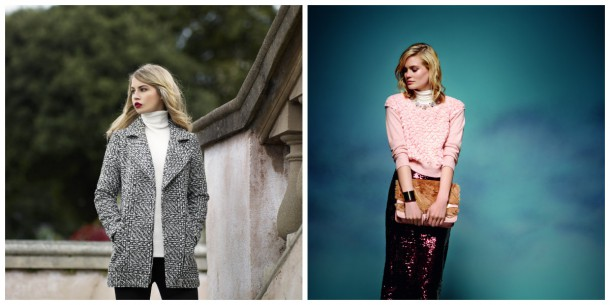 Keep from AW14: Cream Polo Neck worn under coat, €15, Dunnes Stores; Polo neck worn under pink knit, €18, Dorothy Perkins