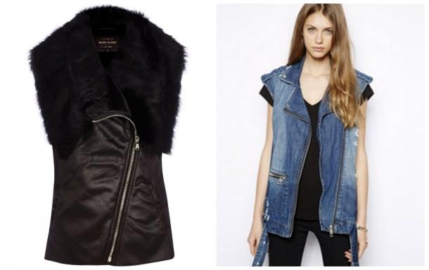 Leather sleevless jacket, €80, River Island; Denim jacket, €22.75, Asos.com