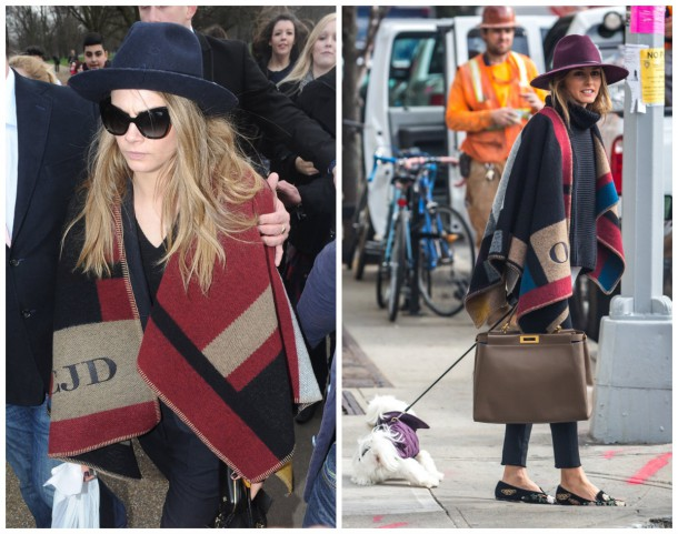Olivia and Cara wearing their monogrammed Burberry wraps