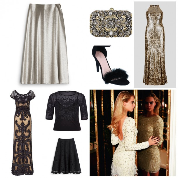 From top left: Metallic skirt, €215, Hobbs; Bag from a selection at Accessorize; Gold Gown, €199, M&S Collection; Black feather shoes, €40, Next; Topshop Autumn Winter Collection campaign featuring Cara Delevingne; Appliqué skirt, €155, Hobbs; Top, €37, River Island; Gown, €325, Phase Eight