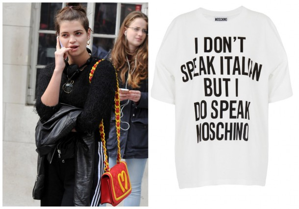 Pixie Geldof rocking her Moschino bag from the AW14 collection; T-shirt, €165, Moschino at Brown Thomas
