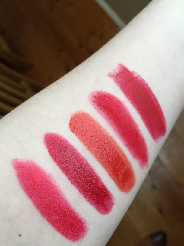 Bottom to Top: Maybelline Super Stay in Non-Stop Red, Rimmel Moisture Renew in Diva Red, Armani Rouge d'Armani in 409, Mac Ruby Woo, Mac Russian Red
