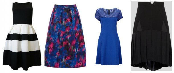 Monochrome dress, €25, iclothing; Floral skirt, €69, Oasis; Blue dress, €45, Littlewoods; Black skirt, €165, Reiss