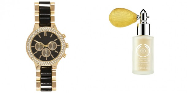 Watch, €45, River Island; Atmomizer from the gift range at The Body Shop