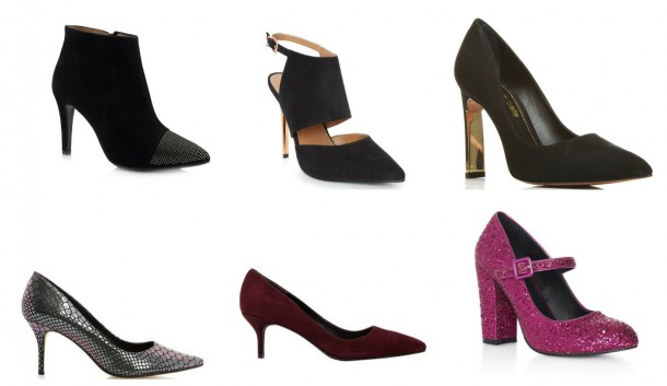 Ankle Boot, €159, Fabucci.ie; Strappe shoe, €18, Penneys; Block heel court, €115, Moda in Pelle at Clerys; Pink mid height shoe, €18, Penneys; Kitten heel in Burgundy, €190, Reiss at Arnotts; Metallic kitten heel, €99, Dune at Arnotts