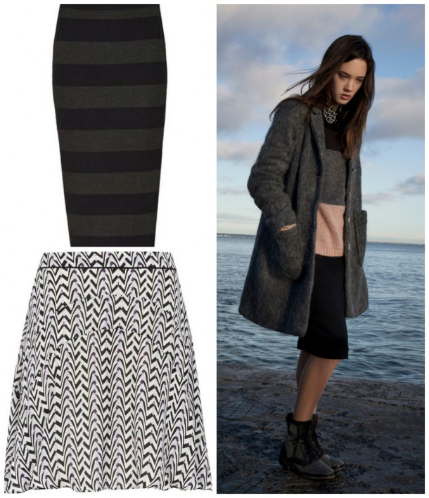 Pinstripe Skirt, €104.95, Oui at Kilkenny; Coat, Top and Skirt, from the AW14 collection at Avoca; Skater skirt, €165, Reiss at Arnotts