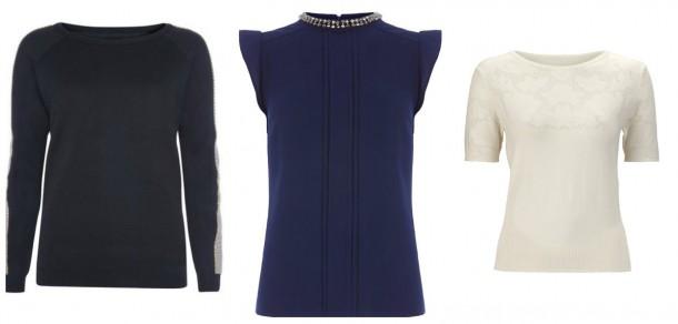Embellished jumper, €21, Penneys; Purple top, €47, Oasis; Cream sleeved top, €57, Myleene Klass at Littlewoods
