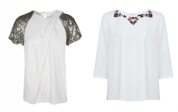 Left, embellished top, €260, Pinko at Arnotts; Sequin detail top, from the Spring Summer 2015 collection at Marks and Spencer