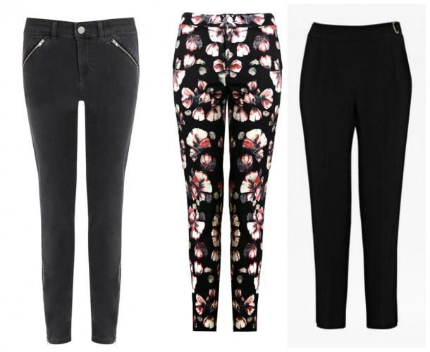 From left: Black jeans, €56, Oasis; Printed trousers, €39, iclothing; Black trousers, €120, French Connection