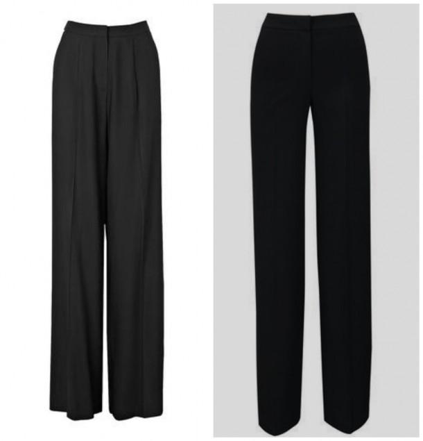 Left, Wide Leg Trousers, €245, LK Bennett; High waisted wide leg trousers, €28, Littlewoods