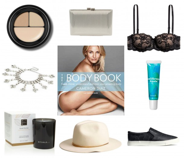 "Concealer, Smashbox €21.50 // Silver box clutch, Parfois €24.95 // Bra, H&M €14.99 // White dripping diamante anklet, River Island €20 // The Body Book by Cameron Diaz, Easons €21.99 // California Kissin' lipgloss, Benefit €21 // ""Sweet Sunrise"" scented candle, Rituals €17.50 // White wool hat, H&M €19.99 // Trainers, H&M €24.99"