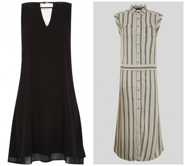 Black chiffon swing dress, €43, River Island; Stripe mid length skirt dress, €29.99, New Look (in stores soon!)