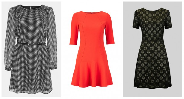 From left: Check dress, €16, Penneys; Red Flippy dress, €45, Littlewoods Ireland; Floral pattern dress, €30, iclothing