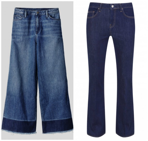 Wide leg jeans, €49.99, H&M; Bootcut jeans, from the denim range at Topshop (in stores this Spring)