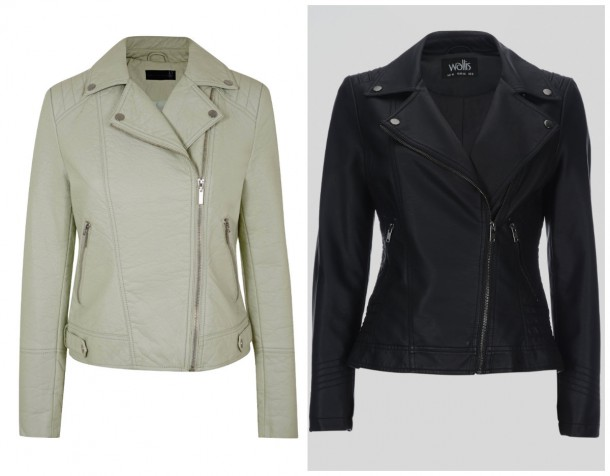 Cream leather jacket from the Spring Summer range at Dorothy Perkins; Black leather biker jacket from Wallis (both in stores soon!)