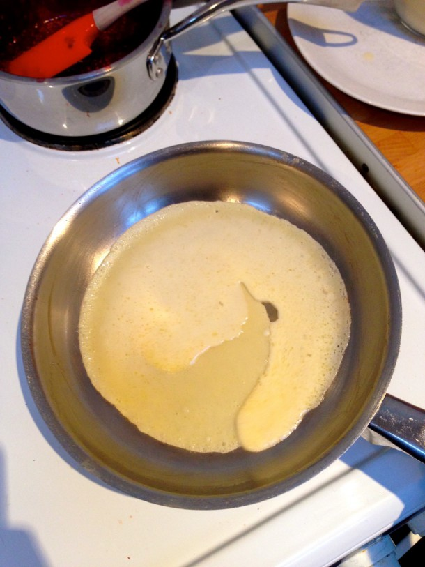 Tilt the pan to coat the bottom