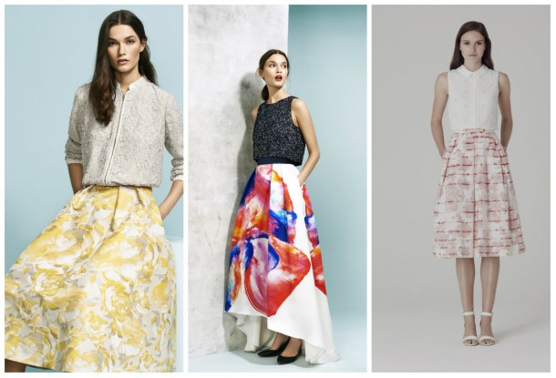 Yellow skirt, €155, Coast; Floral skirt, €155, Coast; Floral skirt, €69, Oasis