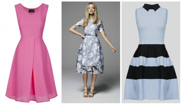 Pink dress, €229, Fee G; Lace Top and Skirt from Miss Selfridge Spring Summer Collection; Blue dress, €25, iclothing