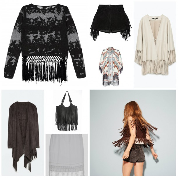 From top left: Black fringe top and shorts, ASOS.com; Kimono, €15, Penneys; Cream jacket, €149, Zara; Waistcoat and shorts, Boohoo.com SS15; White skirt, €43 (approx), River Island; Brown jacket, €49, Zara; Black bag, €15, Penneys