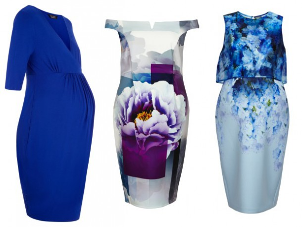 Blue dress, €29.99, New Look; Floral off the shoulder dress and Blue Two-Tone dress, both from the ASOS Maternity range for High Summer