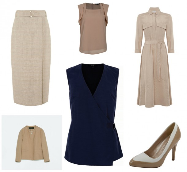 From top left: Skirt, M&S, TBC, Top, €16, Heatons; Dress, TBC, M&S, Shoes, €18, Heatons; Top, €38, Next, Jacket, €49.95, Zara