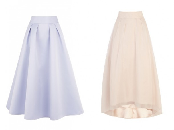 Lilac Skirt and Nude A-line skirt both from Coast