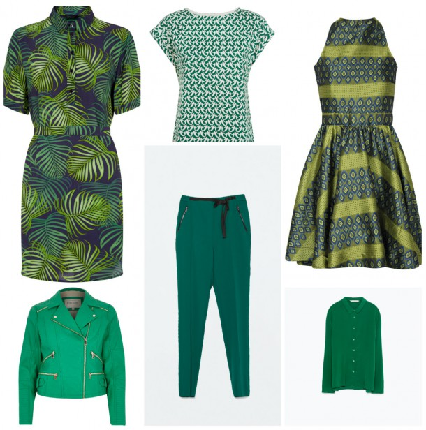 From top left: Collared dress, €29.99, New Look; Printed green top, €49, People Tree; Jacquard dress, from the SS15 collection at boohoo.com; Green shirt, €39.95, Zara; Trousers, €49.95, Zara; Green Leather jacket, €80, River Island