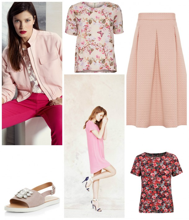 From top left: Pink jacket, top and trousers, M&S SS15; Floral tee, 21.95, Only; Skirt, €68, M&S; Patterned top, €18, Heatons; Pink Dress, €20, Heatons; Jewelled Sandals, €49, New Look