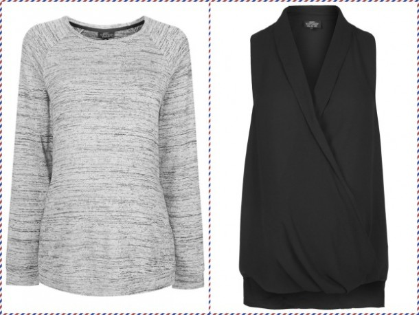 Grey long sleeve top, €34; Black sleeveless top, €36, both from Topshop Maternity