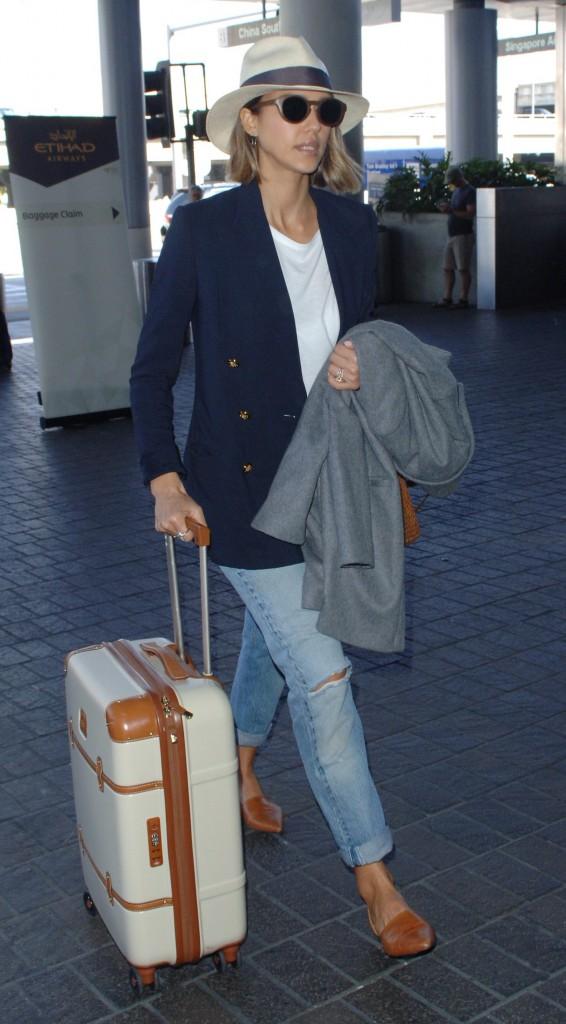 Jessica Alba arrives at LAX