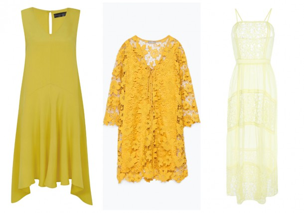 Yellow round neck dress, from the new collection at Dorothy Perkins; Lace dress, €49.95, Zara; Light lace dress, €22, Penneys (in store from May)
