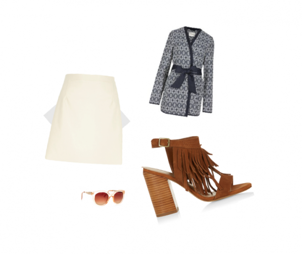 Skirt, €37, River Island; Shoes, €39.99, New Look; Sunglasses, €3, Penneys