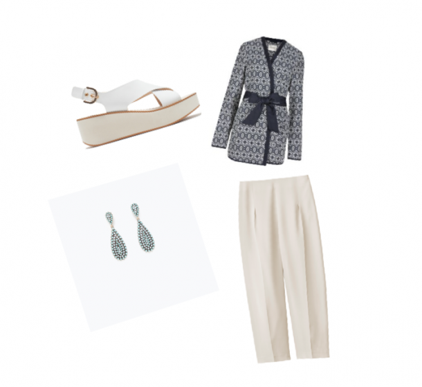Trousers, €69.95, H&M (available on April 16th); Earrings, €14.95 and shoes, €69.95, both from Zara