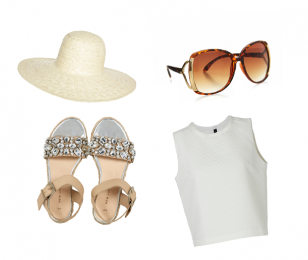 Hat, €5, Penneys; Sunglasses, €1.50, Penneys; Top, Yas at bowandpearl.com; Sandals, €39.99, New Look