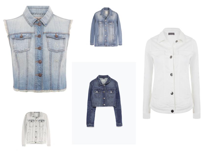 From left: Sleeveless jacket, €15, Penneys; Light wash jacket, €24.99, Bershka; White jacket, €129, Mint Velvet; Dark wash jacket, €39.95, Zara; Light wash jacket, €24.99, Bershka