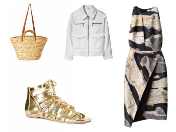 Basket Bag, €10, Penneys; White Jacket, €49.99, H&M; Dress, €59.99, H&M; Gold Sandals, €9, Penneys