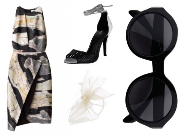 Dress, €29.99, H&M; Shoes, €48, Next; Sunglasses, from a selection at Next; Fascinator, Accessorize
