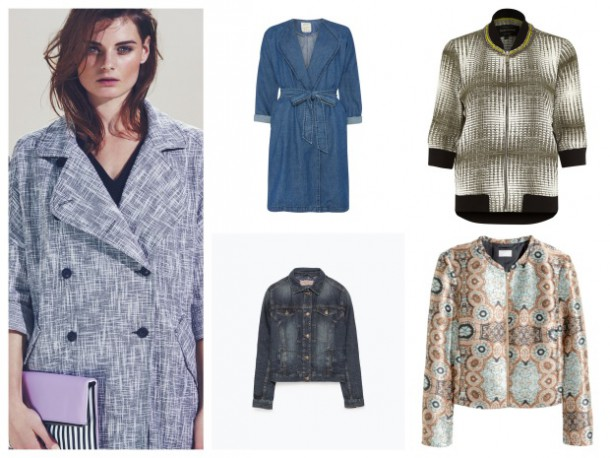 From left: Jacket, €44.99, New Look; Denim duster coat, €30, Penneys; Bomber  jacket, €47, River Island; Printed jacket, €49.95, H&M; Denim jacket, €49.95, Zara