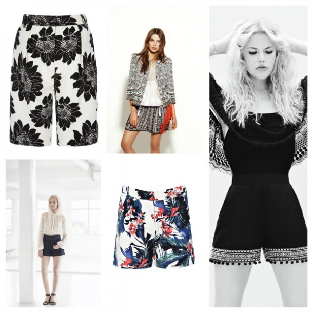 From top left: Black and White floral shorts, €47, Next; Monsoon Spring Summer 2015; Penneys High Summer 2015; Floral shorts, from a selection at Boohoo.com; Miss Selfridge Spring Summer 2015