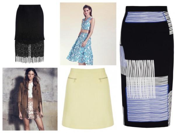 From top left: Black fringed skirt, €17, Penneys; Floral skirt, €29.99, New Look; Pencil Skirt, €44, Next; Yellow mini skirt, €41, Next; Sequin skirt, €37, Littlewoods