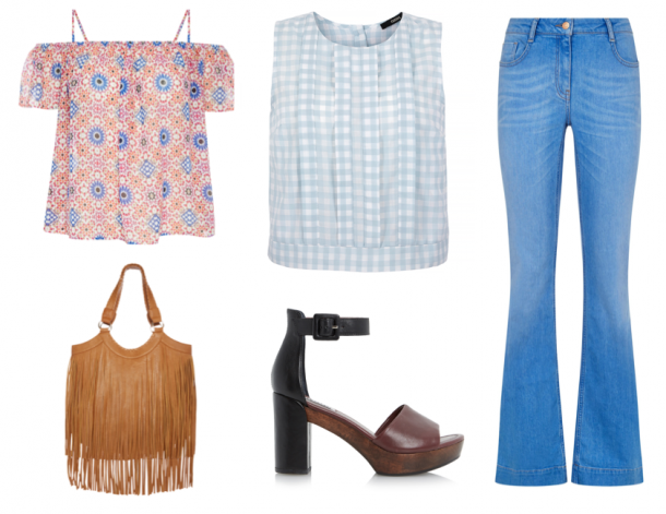 From top left: Top, €7, Penneys; Gingham top, €35, Oasis; Jeans, €29.99, New Look; Shoes, €125, Dune; Bag, €15, Penneys