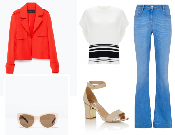From top left; Red Jacket, €39.95, Zara; Top, Warehouse; Shoes, €44, Oasis; Sunglasses, €17.95, Zara