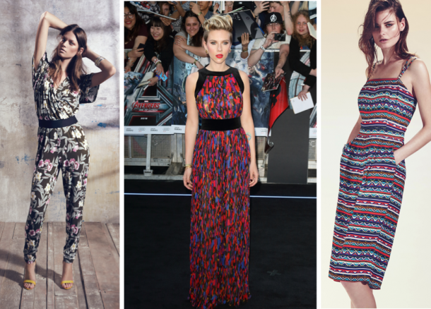 Printed kimono style jumpsuit; €48, Littlewoods; Scarlett Johannson at the premiere of The Avengers; Short leg jumpsuit, €29.99, New Look