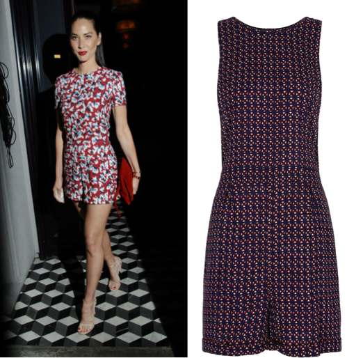 Olivia Munn loves her printed playsuit; sleeveless playsuit, €33, Next